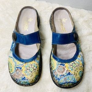 Rieker Blue Multi Daisy Embroidered Mule/Clog